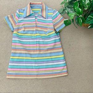 Vintage Half zip Groovy Striped polyester 70's Top